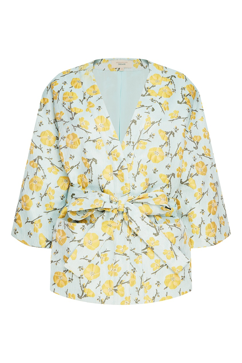 Akhmadullina DREAMS Жакет-кимоно из жаккарда с цветами laroom жакет из хлопкового жаккарда