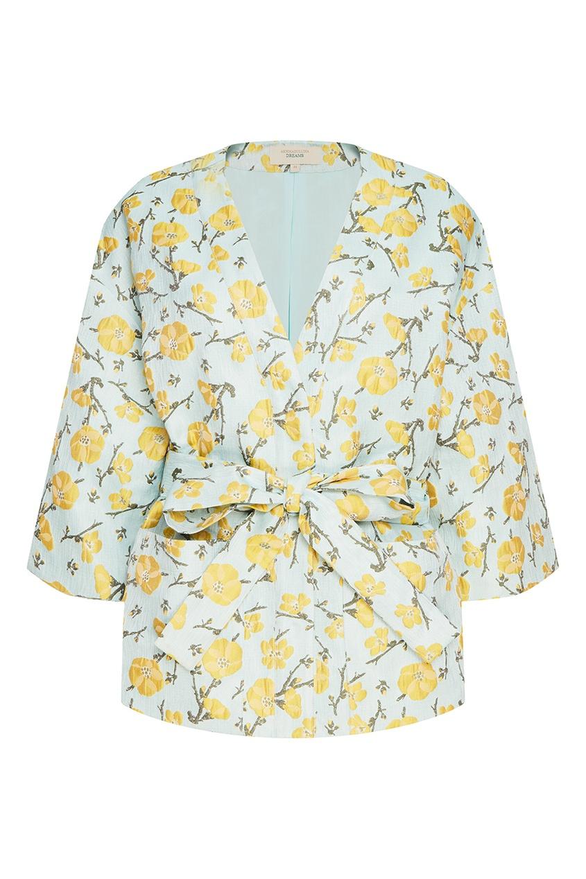 Жакет-кимоно из жаккарда с цветами