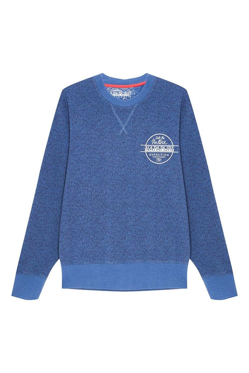 Napapijri Синий хлопковый свитшот с логотипом пиджак liu jo uomo liu jo uomo li030emwfe86