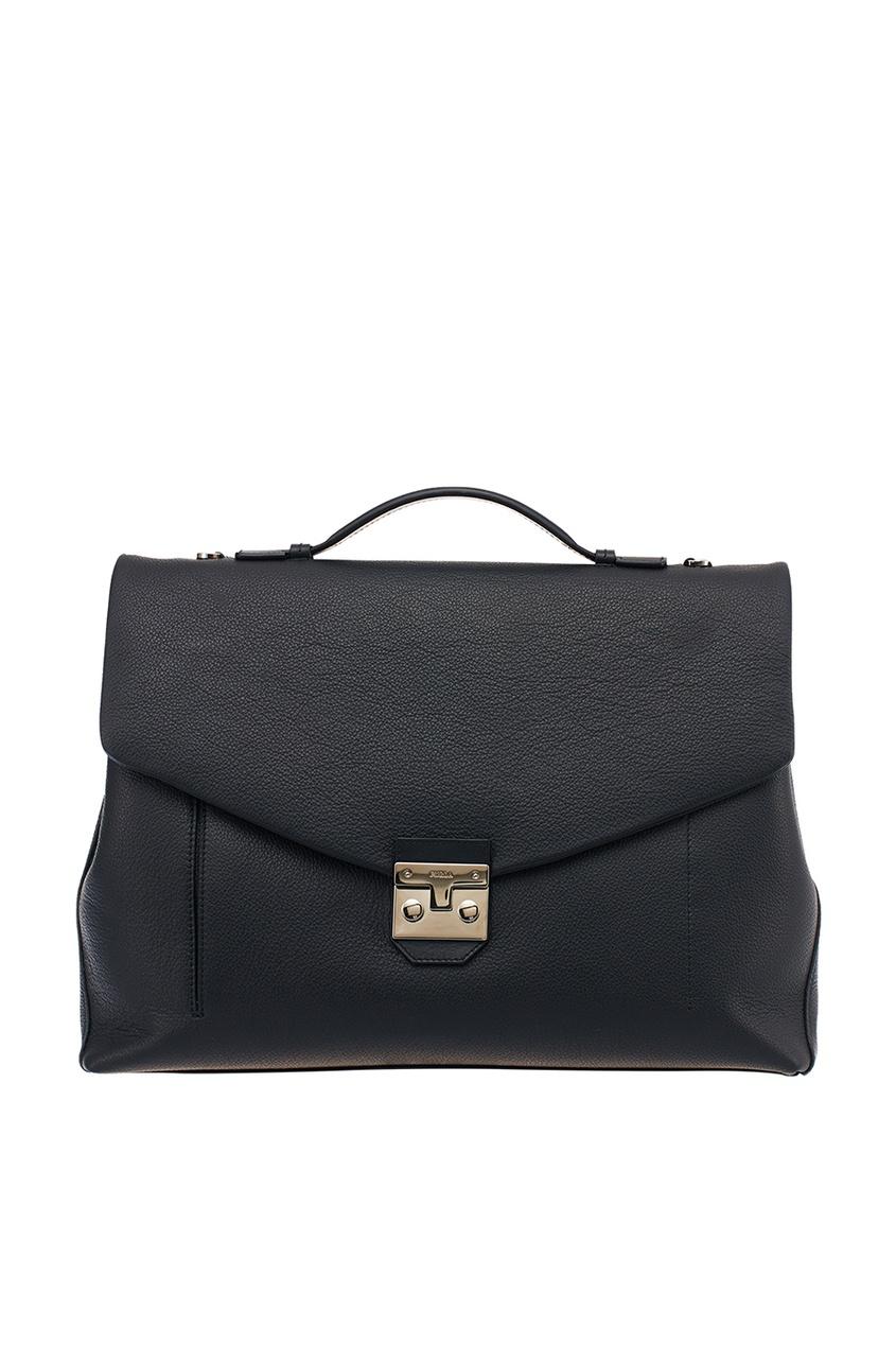 Черный кожаный портфель Man Teseo