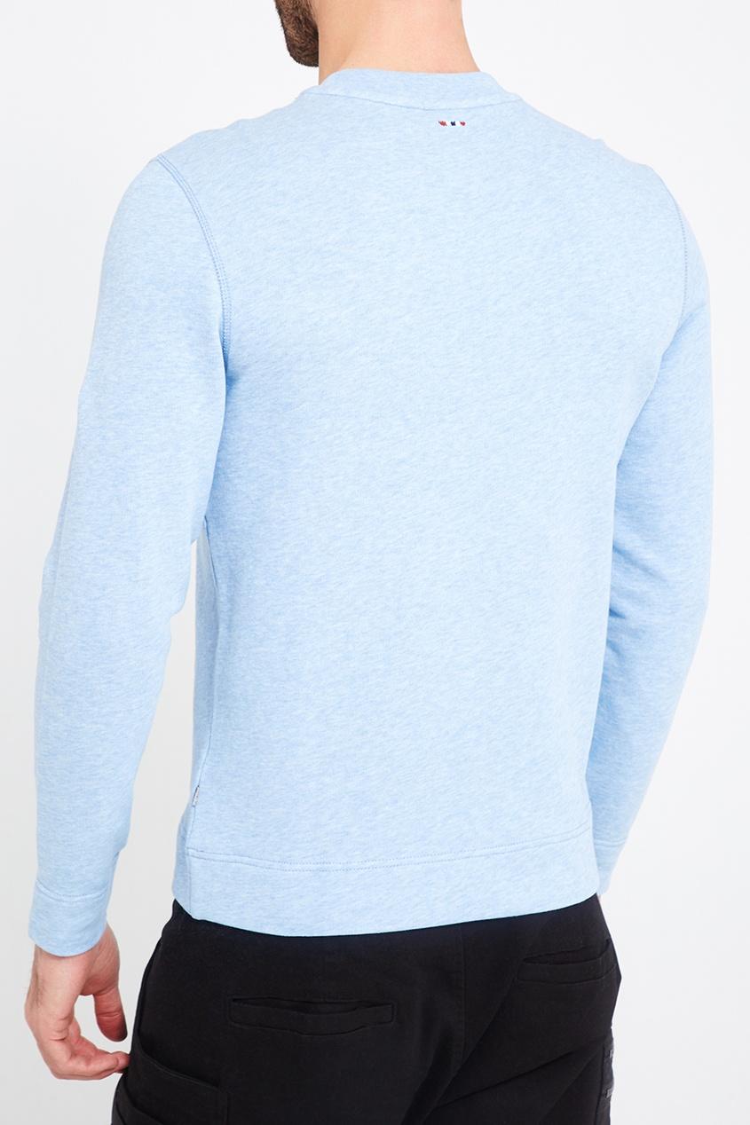 Napapijri Голубой меланжевый свитшот блузон стеганый в байкерском стиле guprady