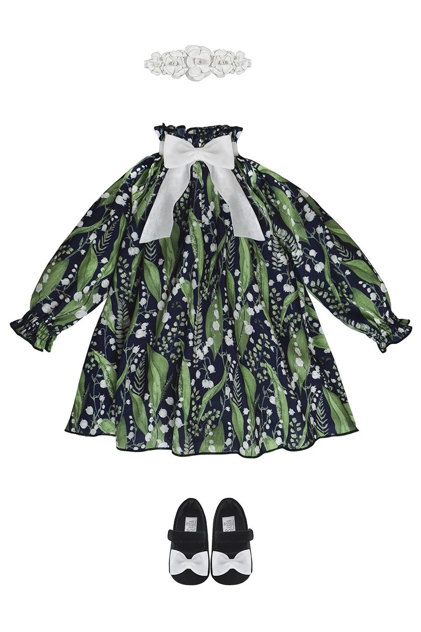 Шелковый комплект с платьем «Ландыши»