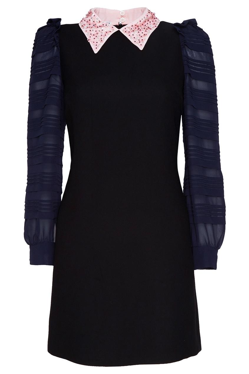 Miu Miu Платье с декоративным воротником miu miu платье от miu miu 71748