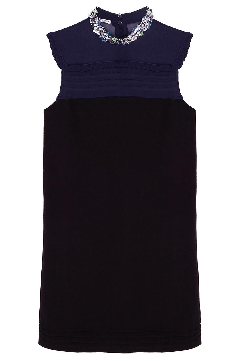 Miu Miu Двухцветное платье с отделкой кристаллами miu miu платье от miu miu 71748