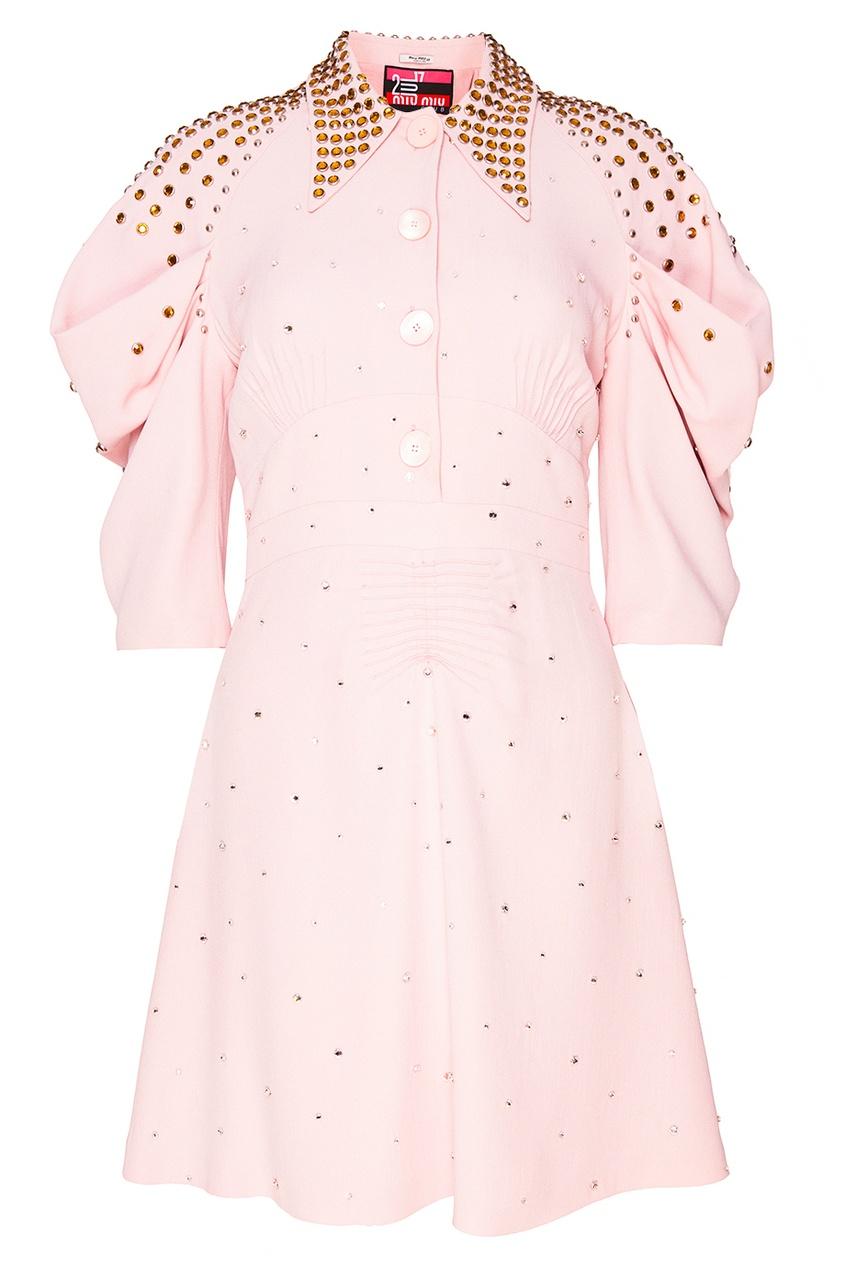 Платье-миди с золотистыми заклепками от Miu Miu