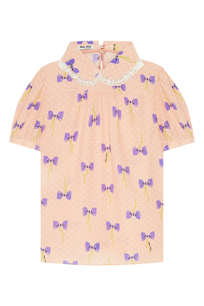 Miu Miu Шелковая блузка со смешанным принтом