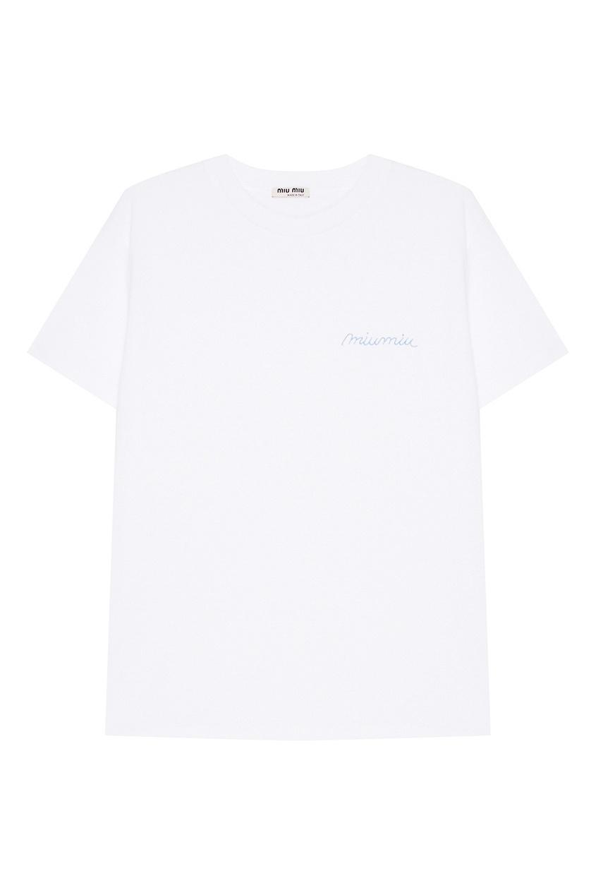 Miu Miu Белая хлопковая футболка с логотипом футболка белая с принтом ido ут 00004169