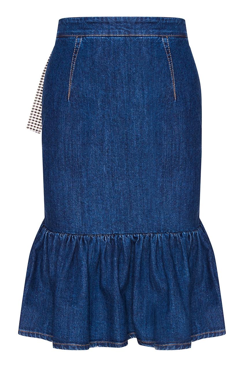 Джинсовая юбка с воланами