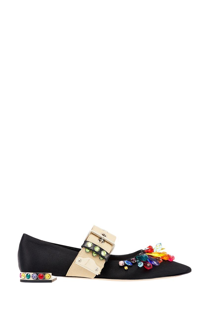 Туфли с кристаллами и контрастным ремешком