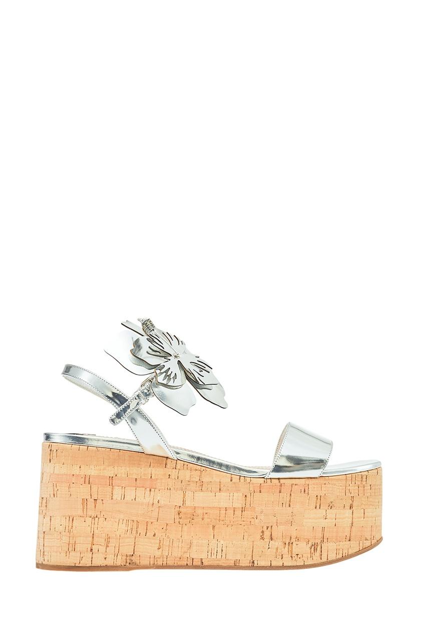 Miu Miu Серебристые босоножки с цветами prada серебристые босоножки на танкетке