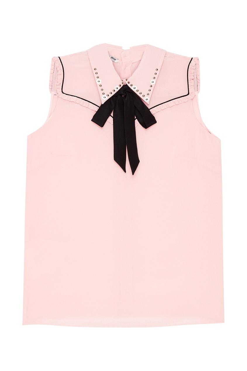 Miu Miu Шелковая блузка со смешанным декором