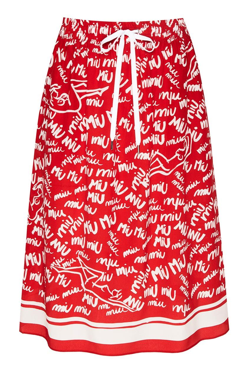 Красная шелковая юбка с принтом