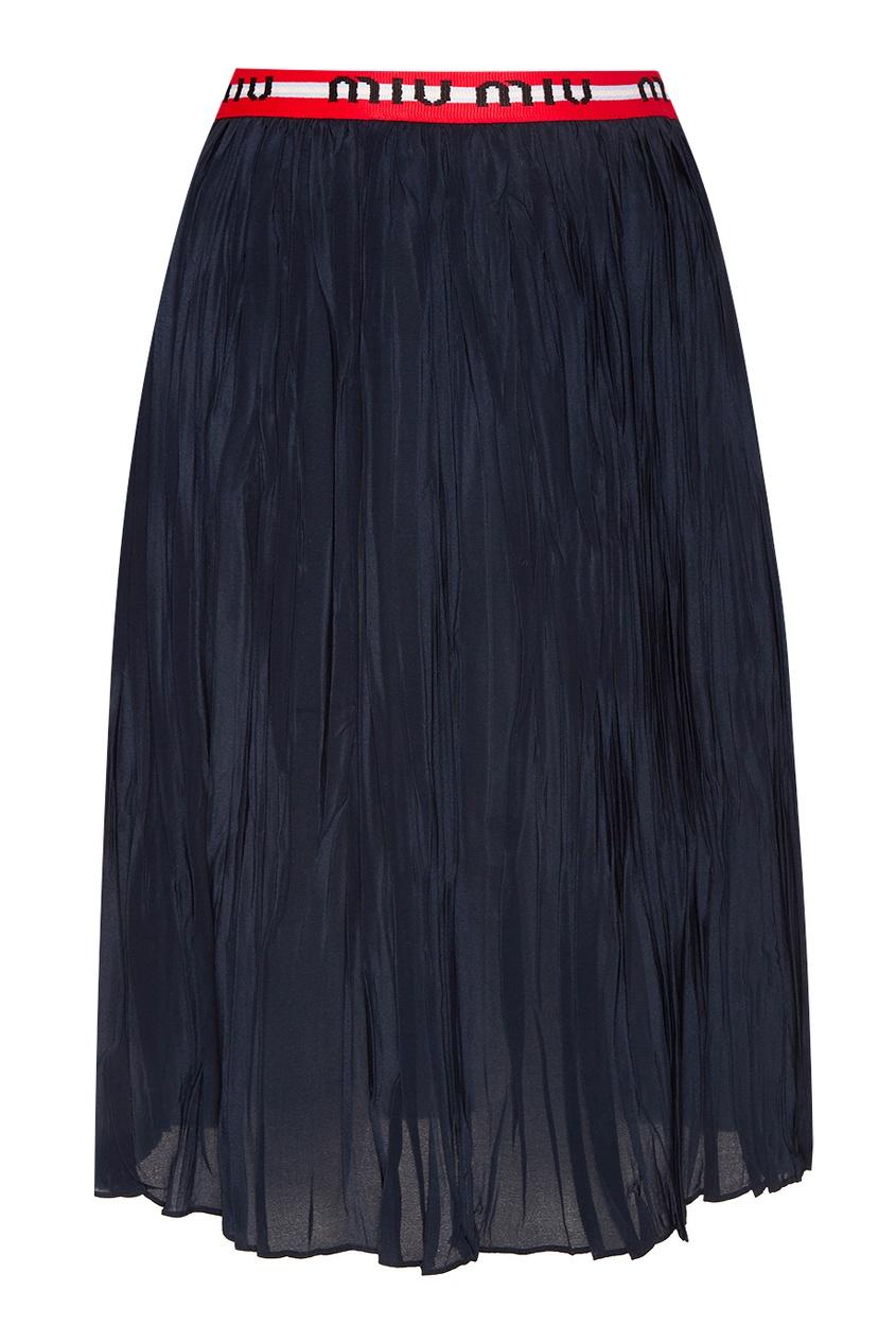 Жатая юбка с цветным поясом