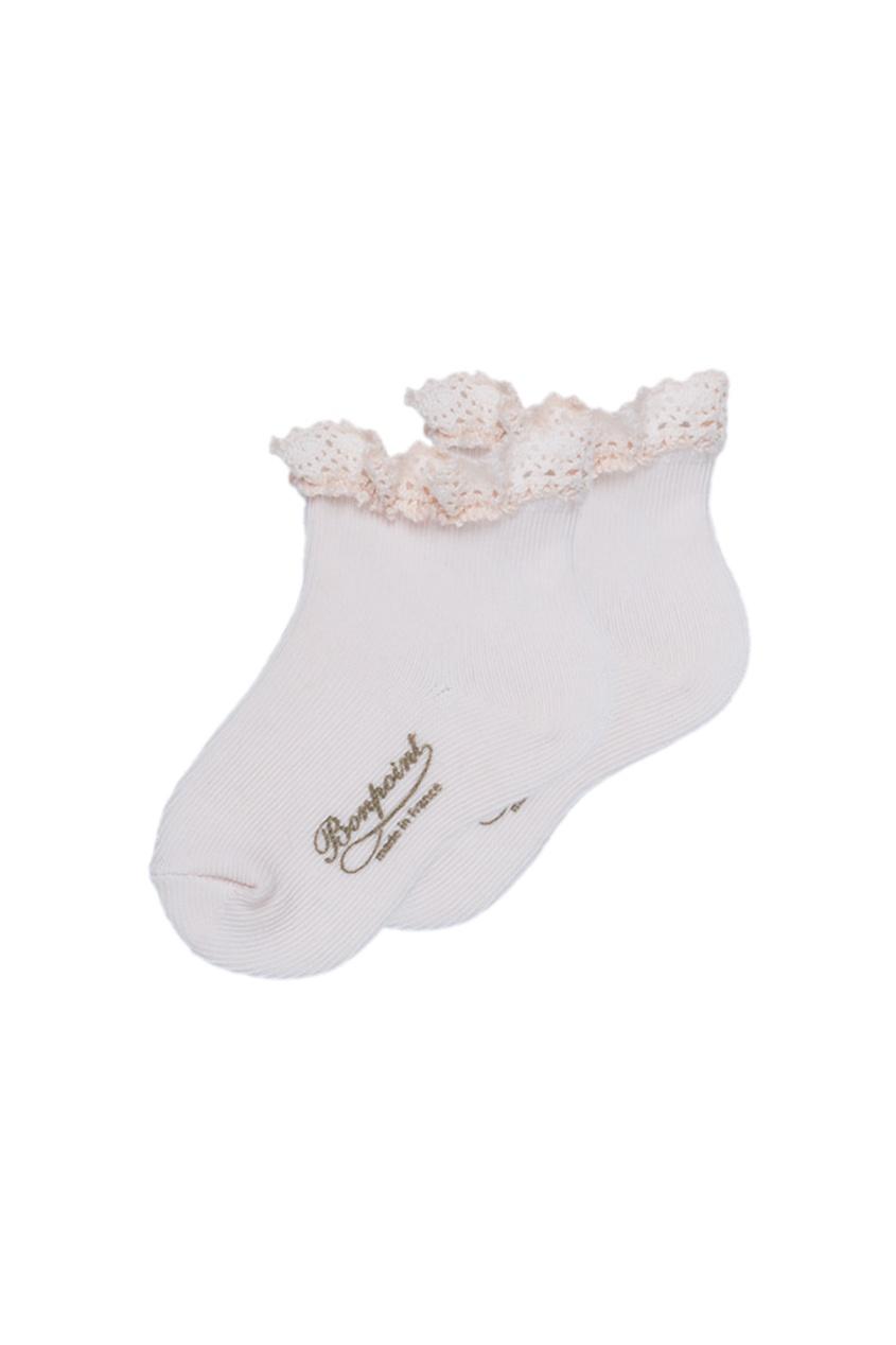 Bonpoint Розовые хлопковые носочки с кружевом bonpoint вельветовые розовые брюки cookie