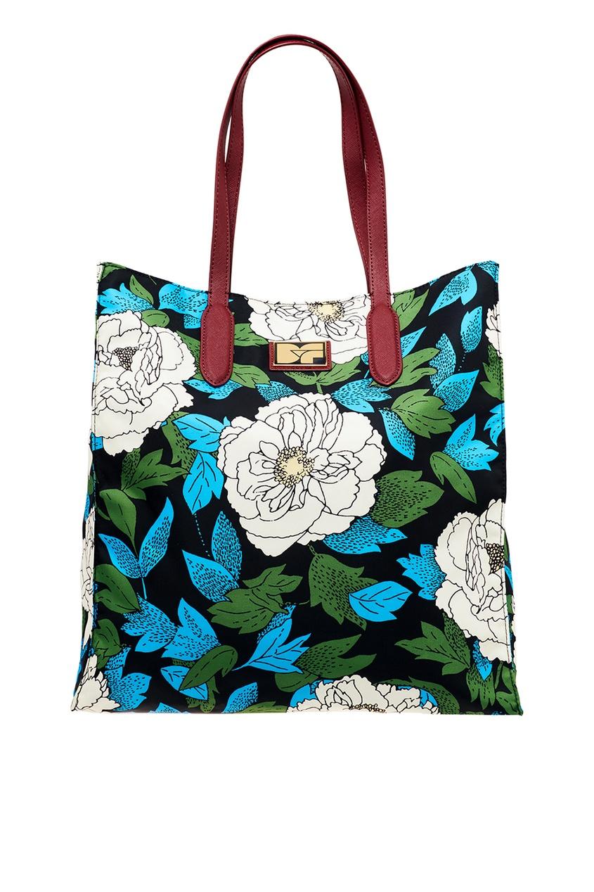 Текстильная сумка с белыми цветами