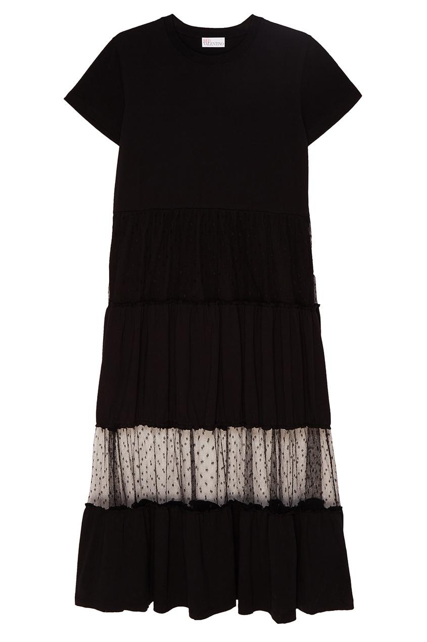 Red Valentino Черное хлопковое платье с сеткой платье черное с паетками 44
