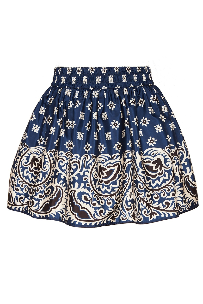 Синяя юбка-мини с принтом