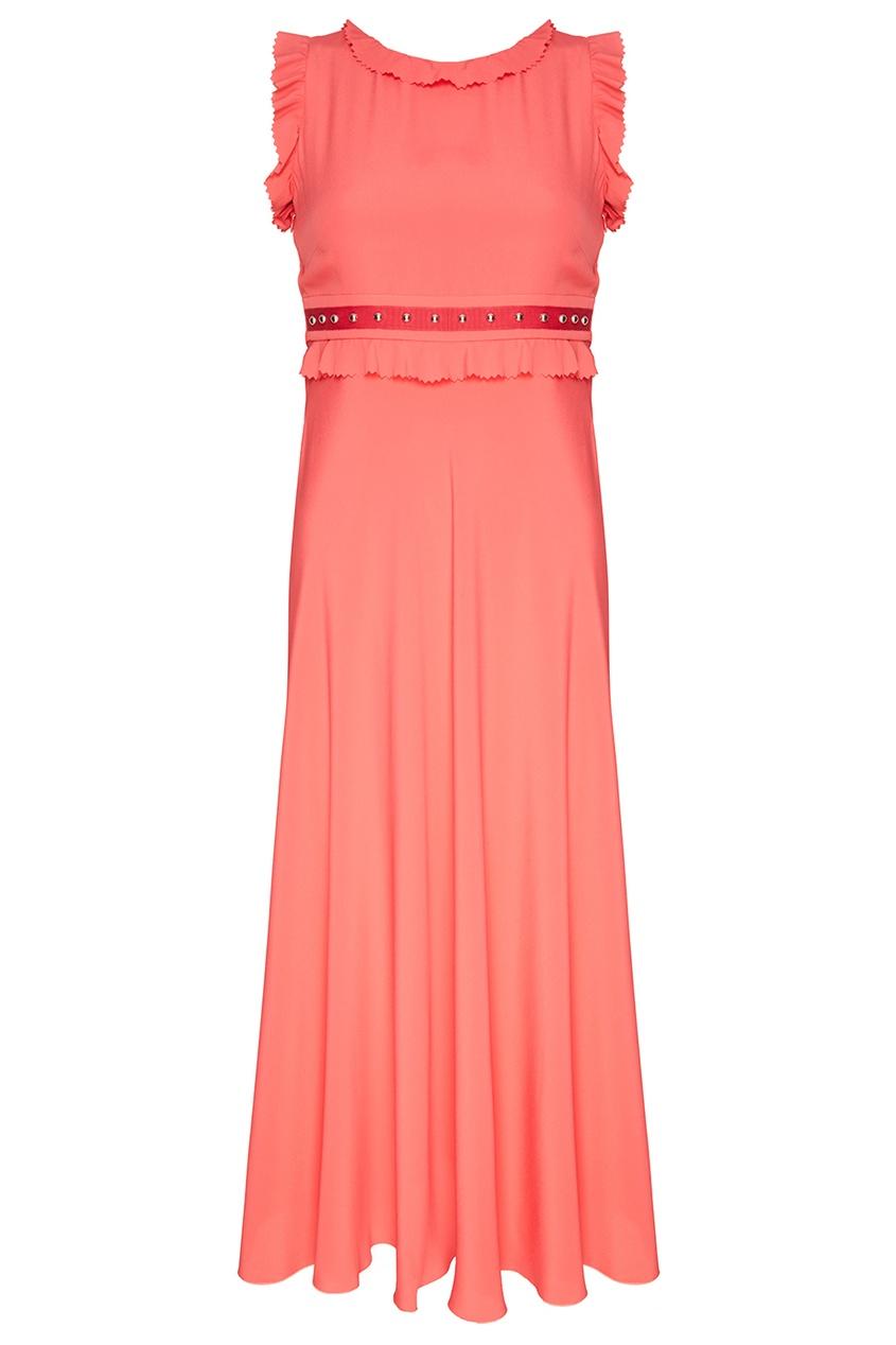 Red Valentino Розовое платье-миди с оборками