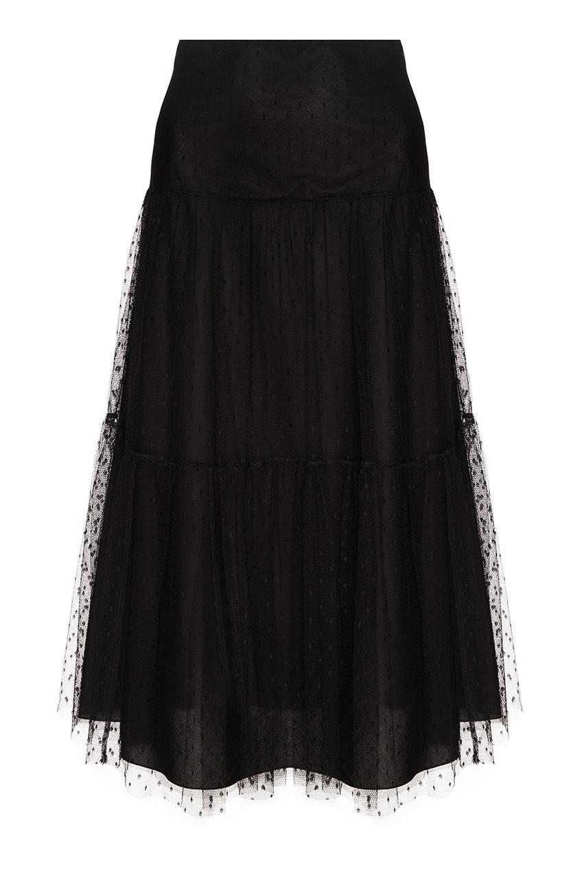 Черная юбка из сетки