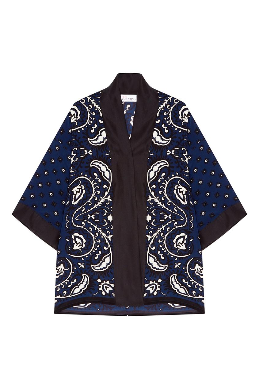 Red Valentino Синий шелковый халат с принтом купить шелковый халат мужской спб