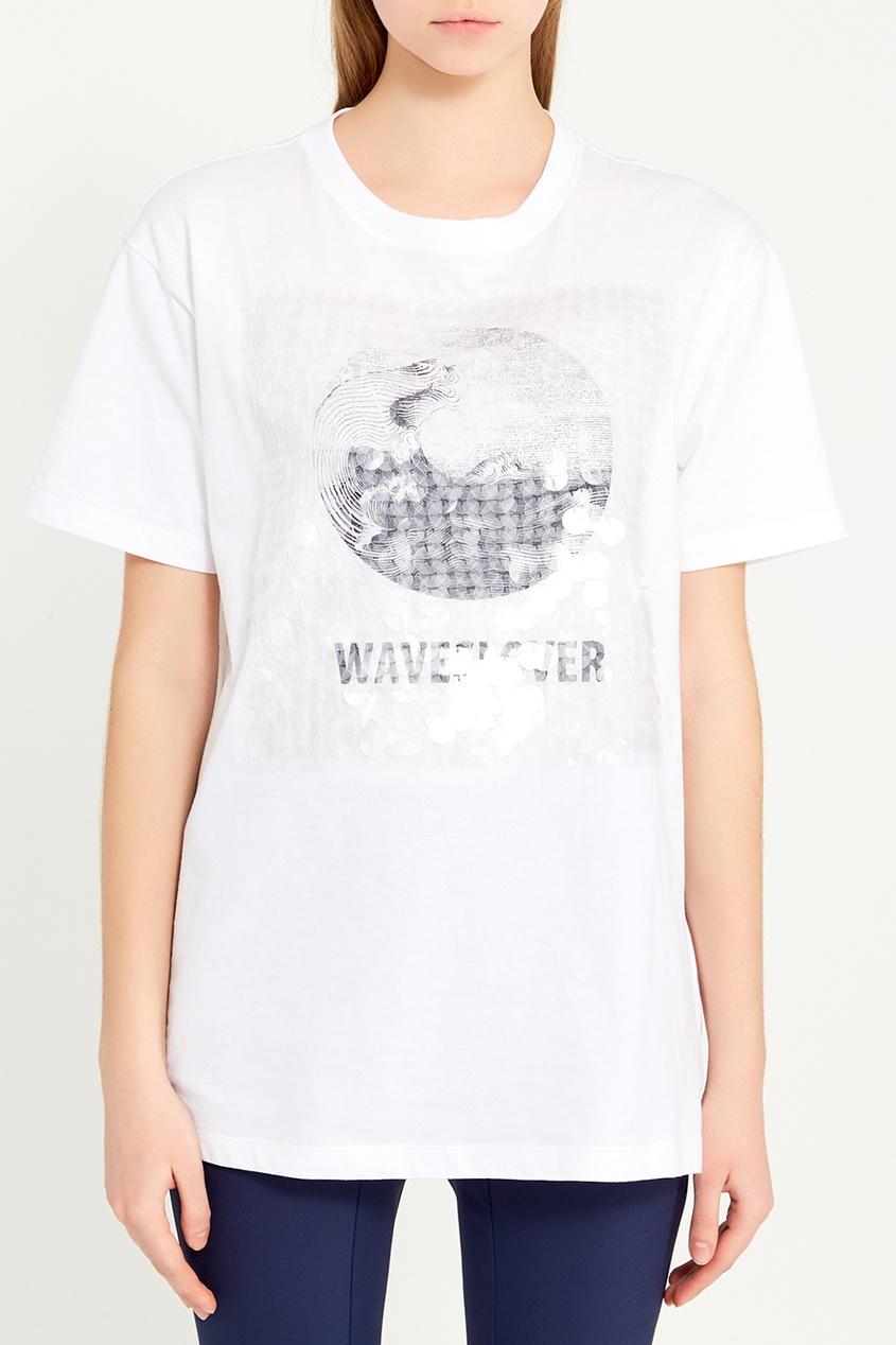 женская футболка valentino, белая