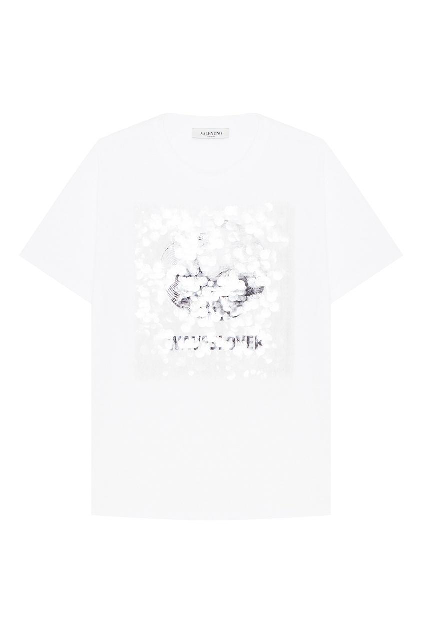 Хлопковая футболка с принтом и пайетками VALENTINO