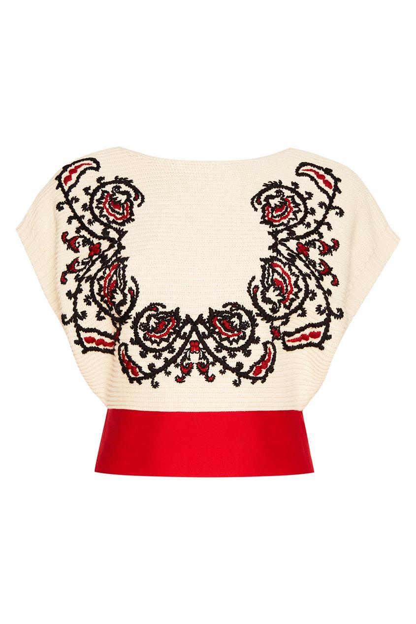 Red Valentino Хлопковый джемпер с этнической вышивкой