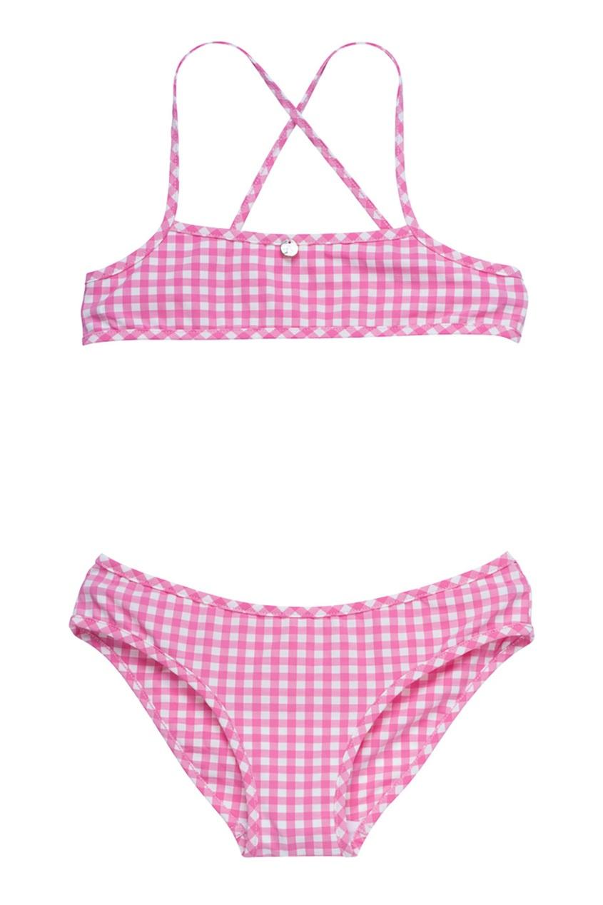Bonpoint Раздельный розовый купальник в клеточку