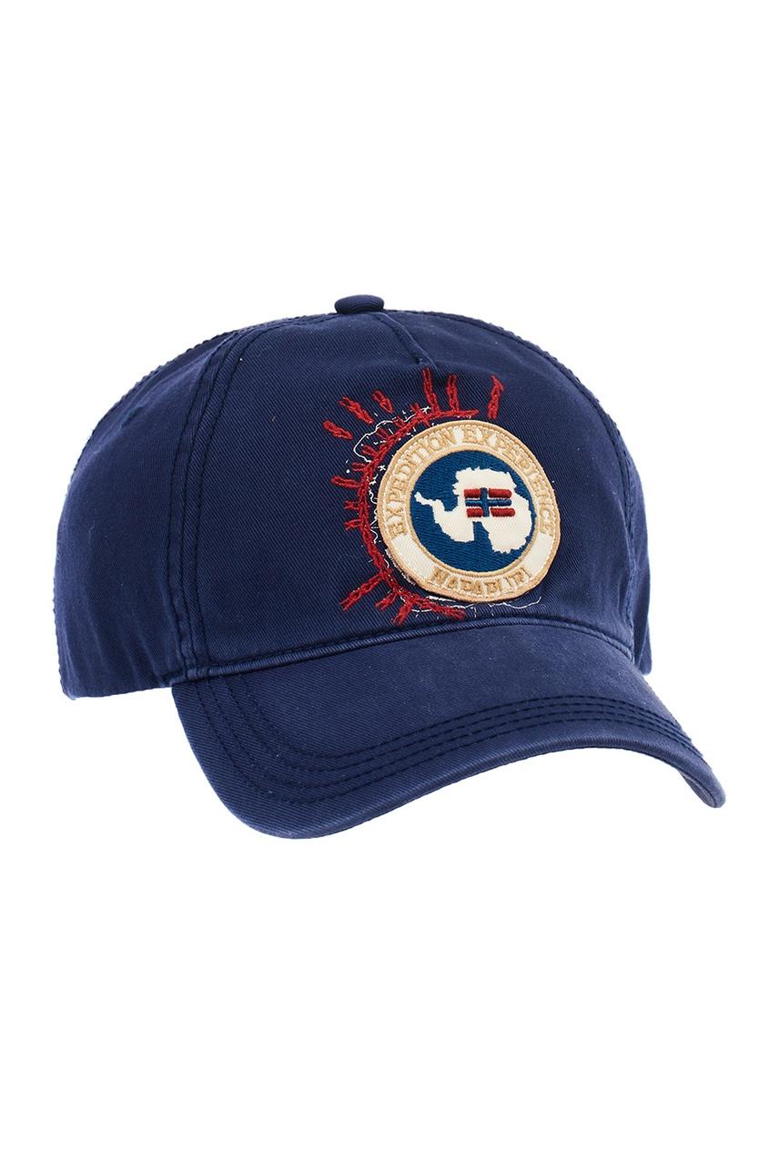 Napapijri Синяя хлопковая кепка с эмблемой napapijri синяя хлопковая футболка с логотипом
