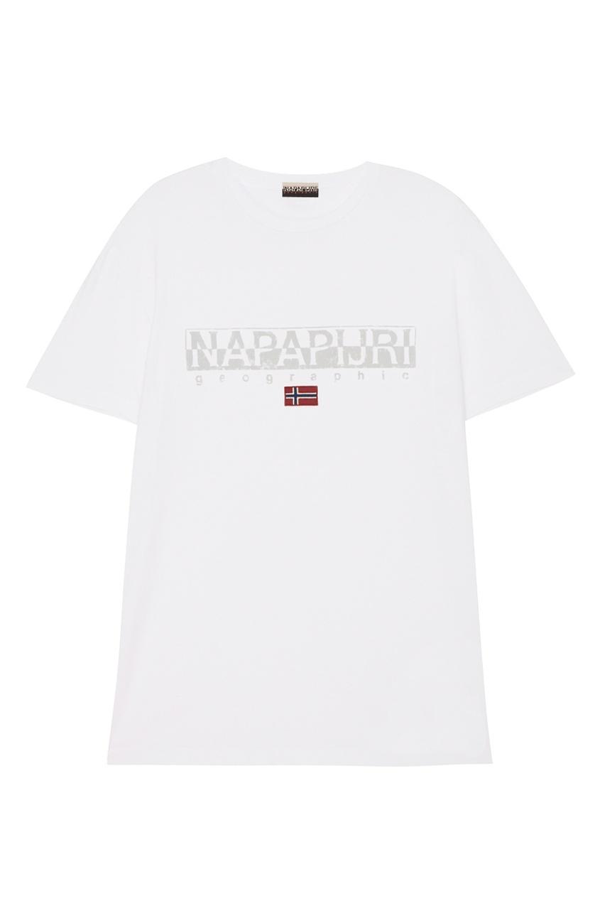 Napapijri Белая футболка с логотипом и флагом napapijri худи с эмблемой bochil