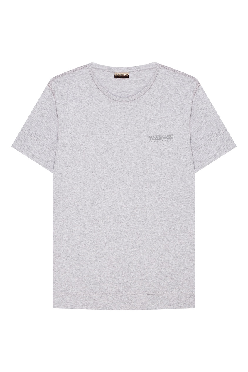 Napapijri Серая меланжевая футболка с логотипом napapijri синяя хлопковая футболка с логотипом