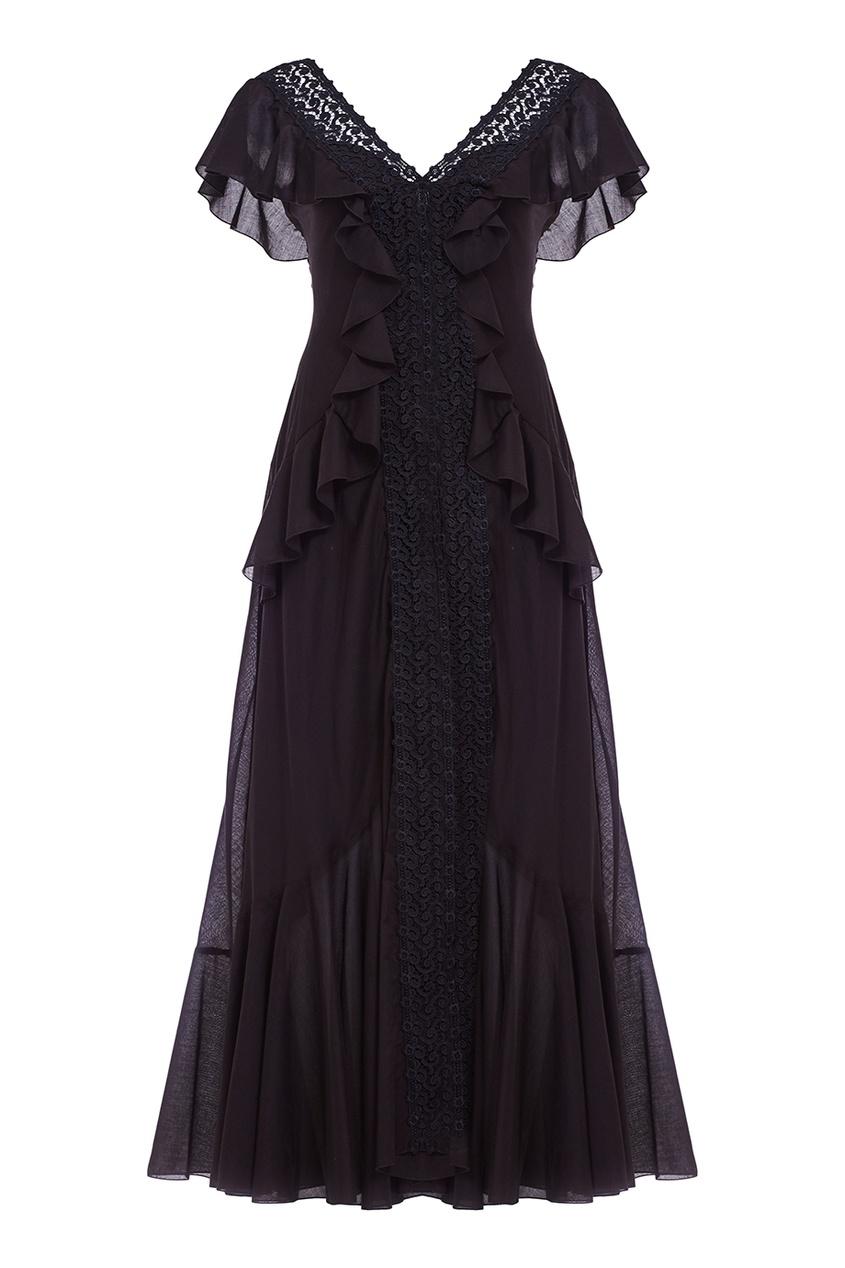 Charo Ruiz Черное платье с кружевом и оборками платье черное с паетками 44