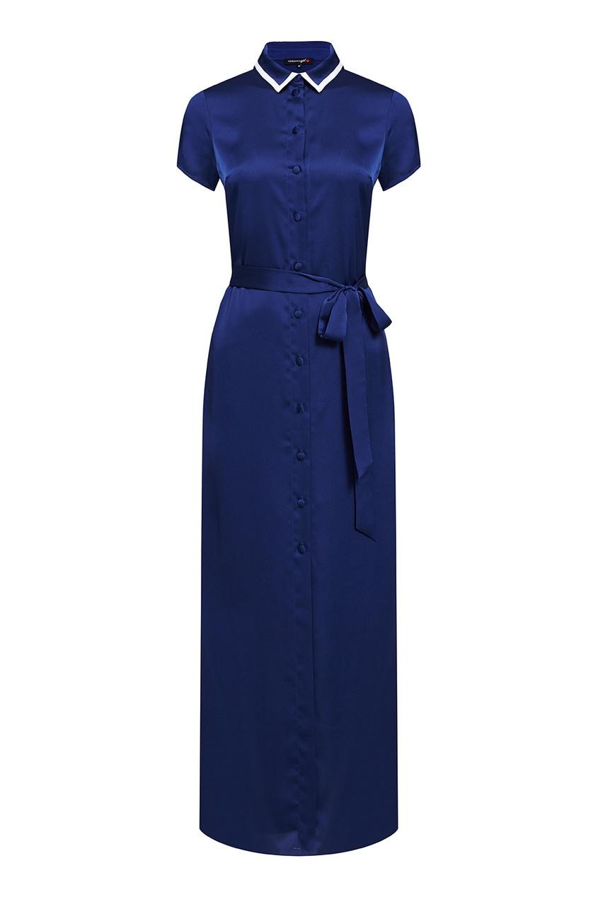 Terekhov Girl Синее платье с квадратным воротником