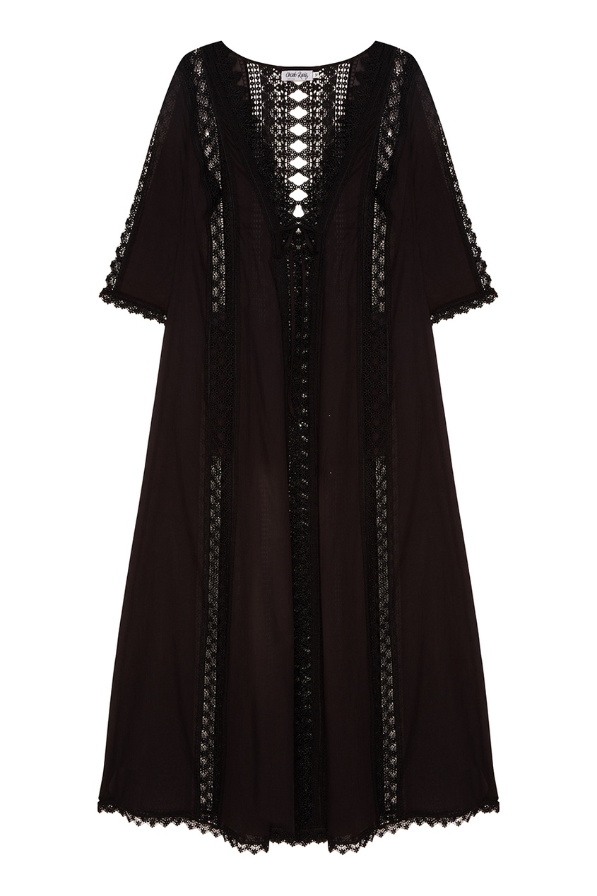 Черный халат с отделкой