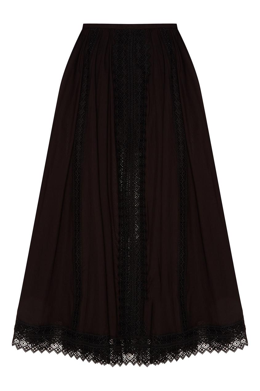 Черная юбка с кружевной отделкой