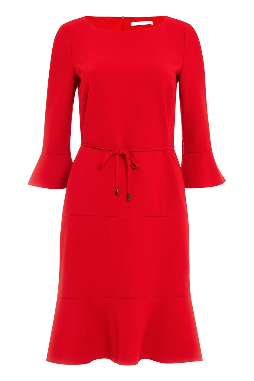 BOSS Красное платье с воланами