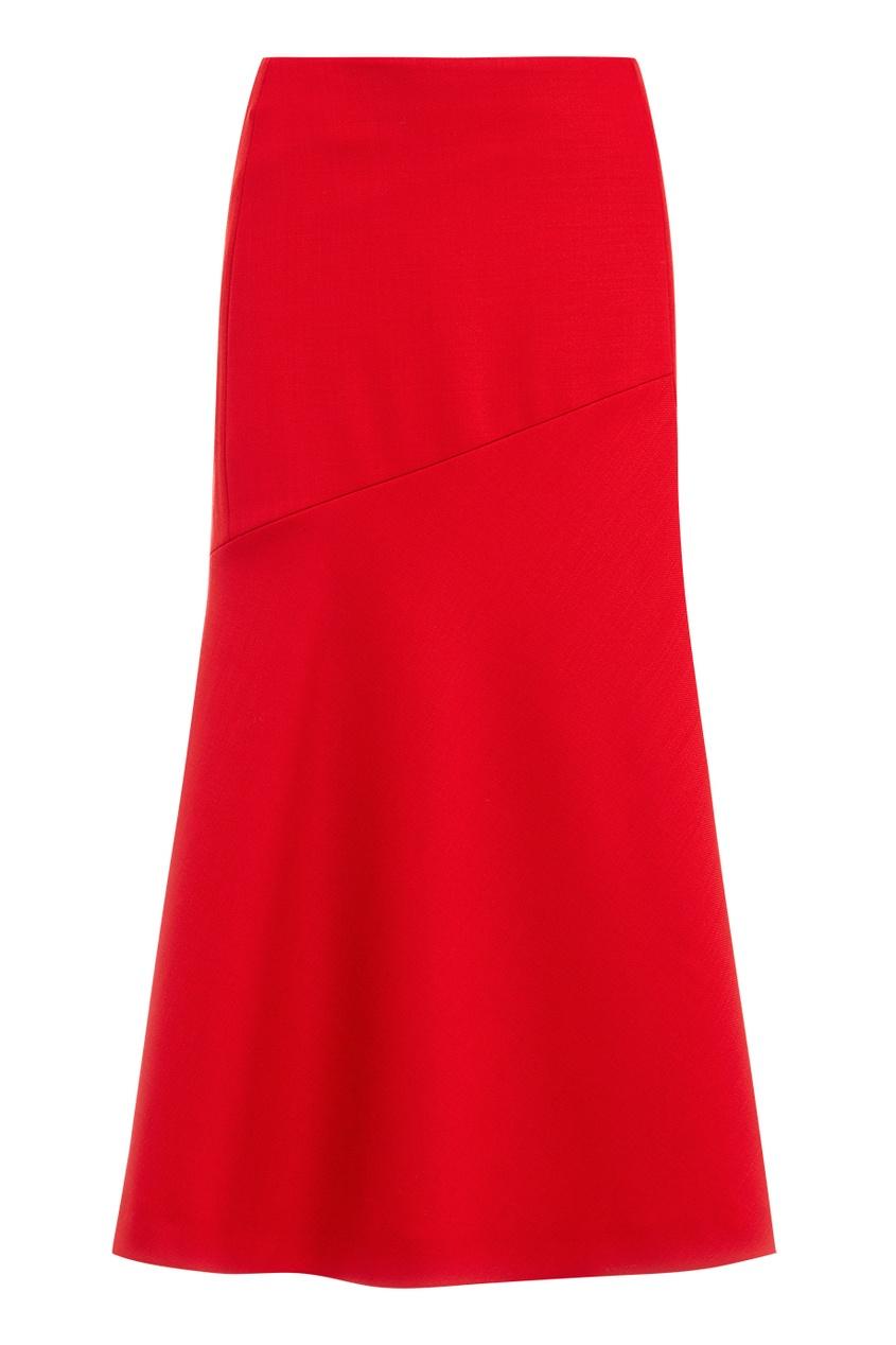 Красная юбка-миди