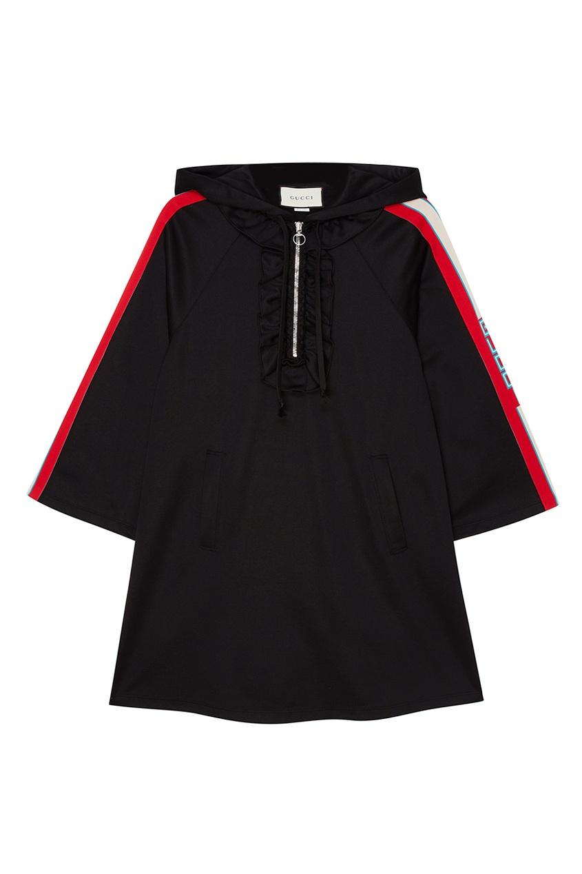 Gucci Черное платье с капюшоном платье черное с паетками 44