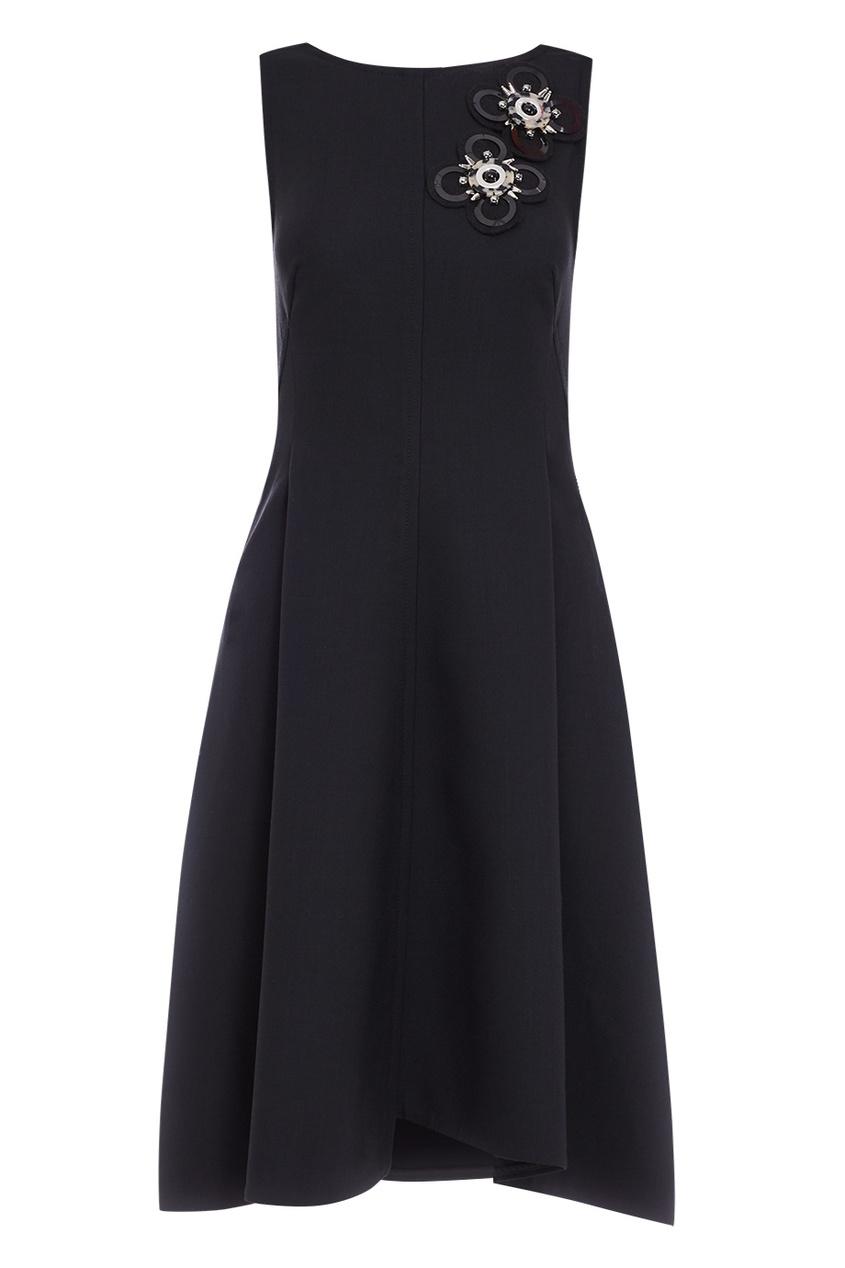 Dorothee Schumacher Черное платье с аппликацией платье черное с паетками 44