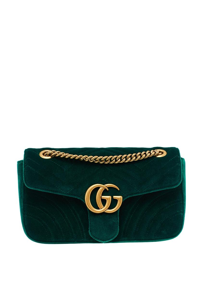 Gucci Зеленая сумка GG Marmont gucci кожаные туфли gg marmont