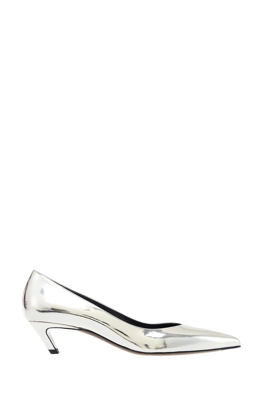 Серебристые туфли Slash Heel