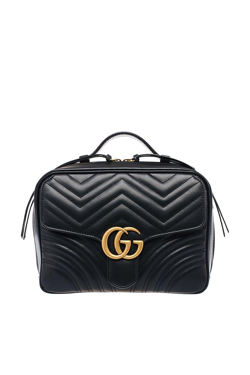 Gucci Черная сумка с текстильным ремнем GG Marmont gucci кожаная сумка gg marmont