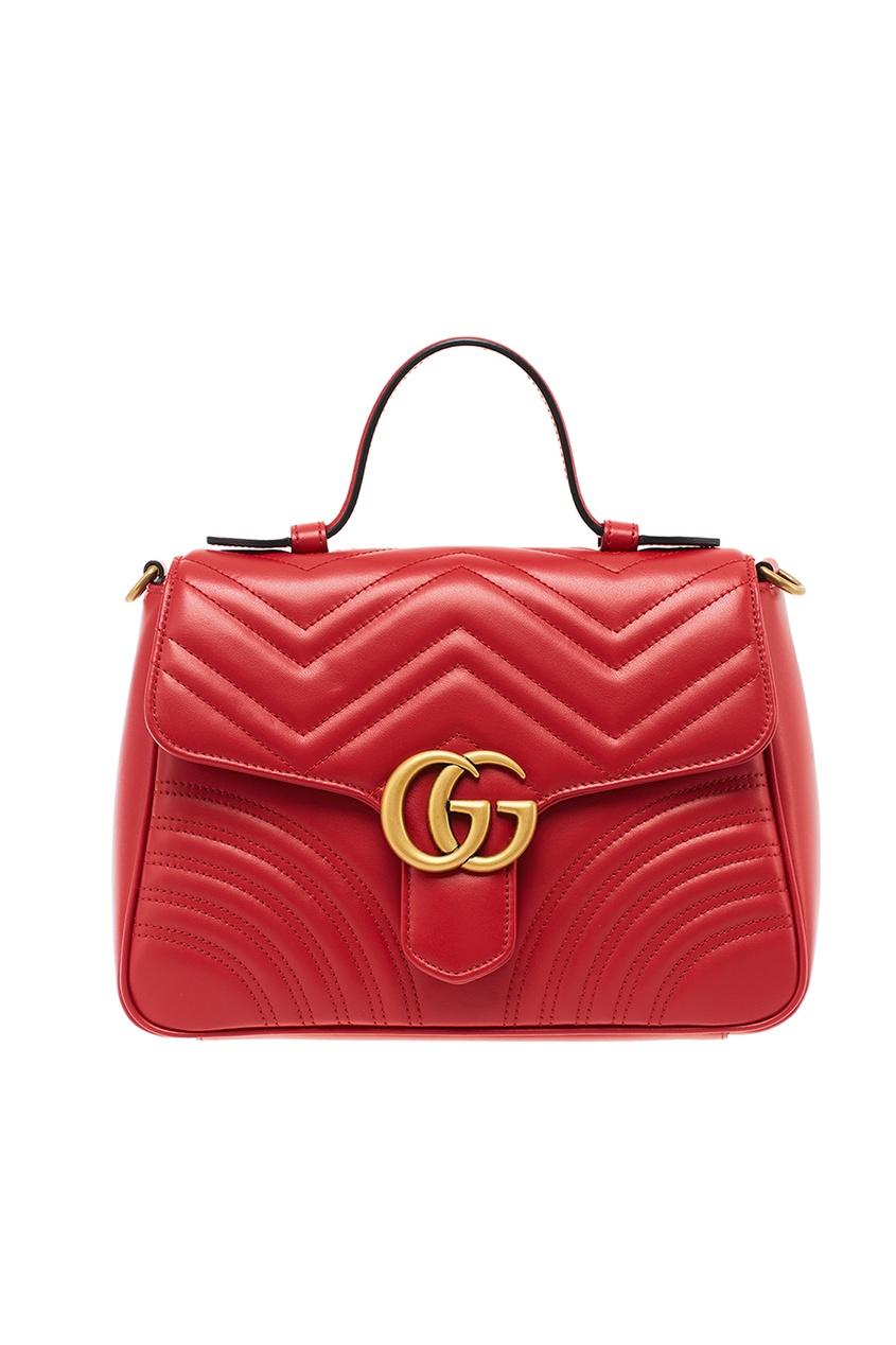 Gucci Красная кожаная сумка GG Marmont gucci кожаная сумка gg marmont