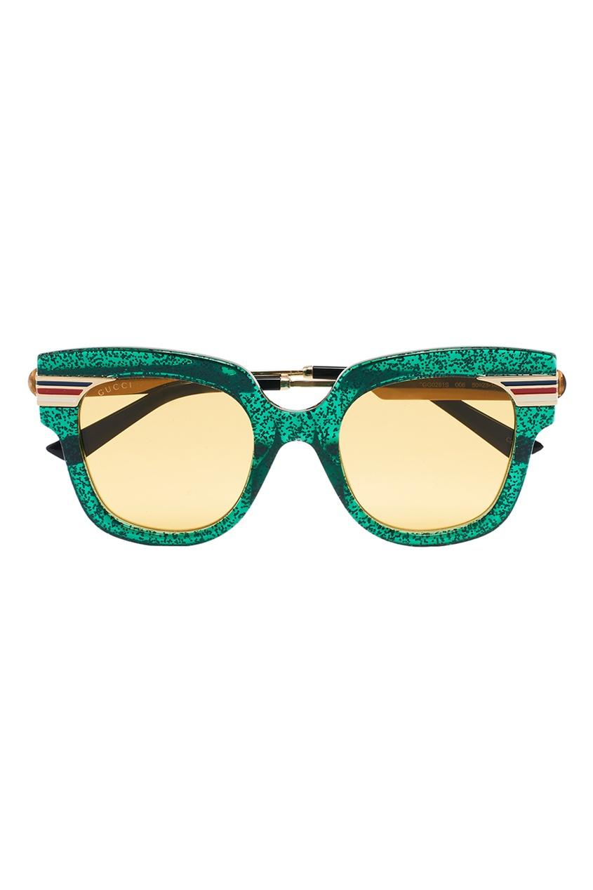 Зеленые солнцезащитные очки с блестками