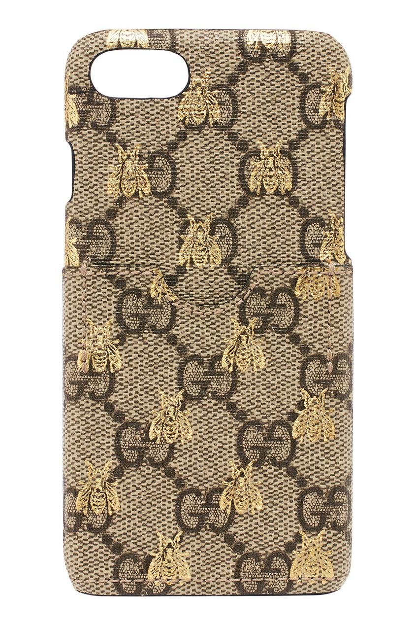 Gucci Чехол для iPhone с пчелами IPhone 7/8 чехол для iphone 4 глянцевый с полной запечаткой printio эфиопка