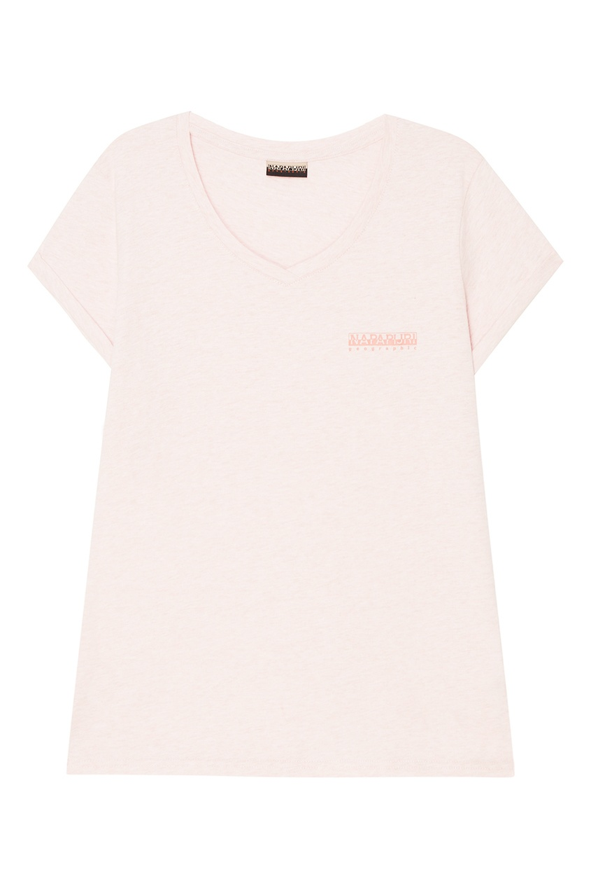 Napapijri Хлопковая розовая футболка с V-вырезом msgm розовая хлопковая футболка