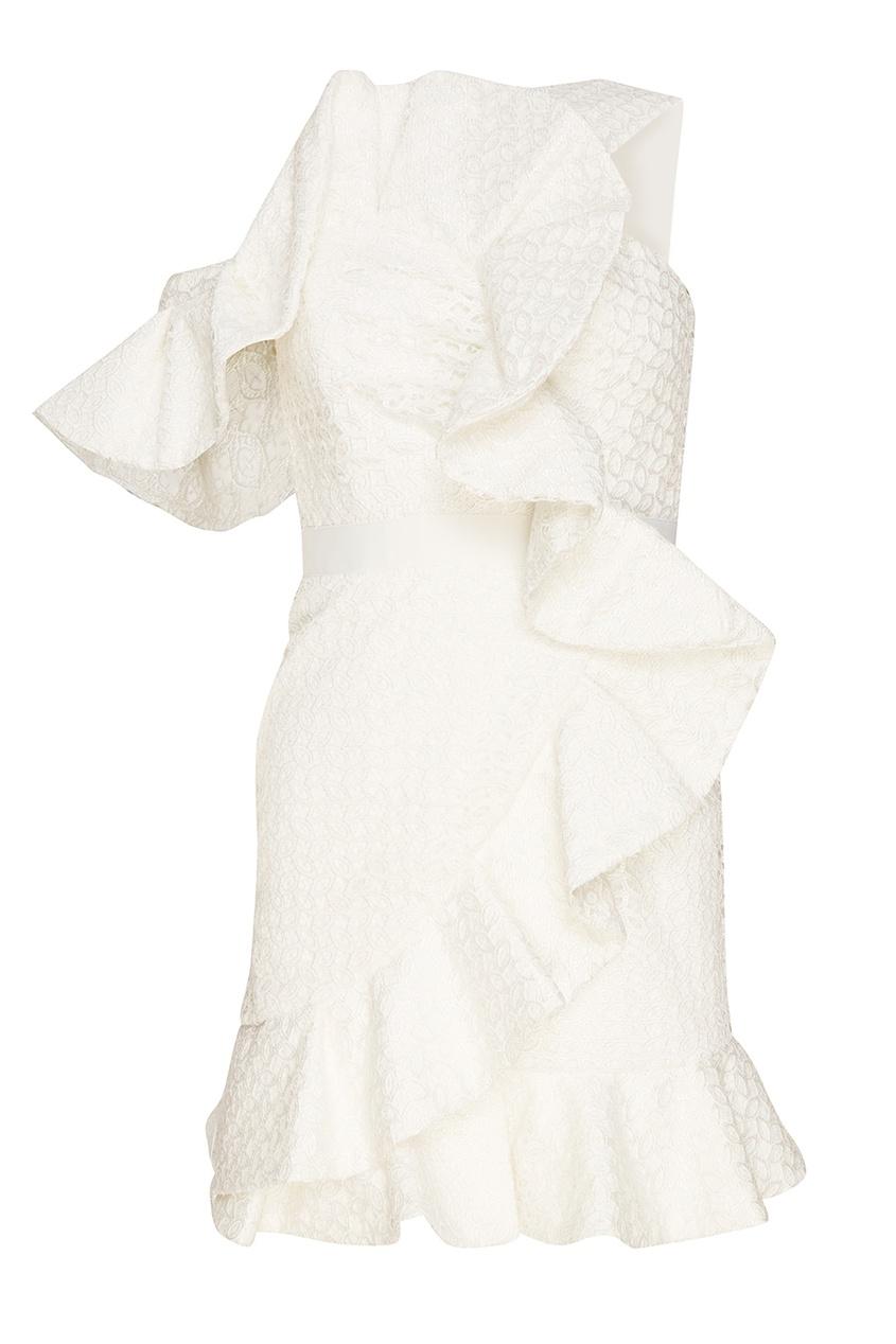 Self-Portrait Белое кружевное платье с воланами self portrait белое кружевное платье миди