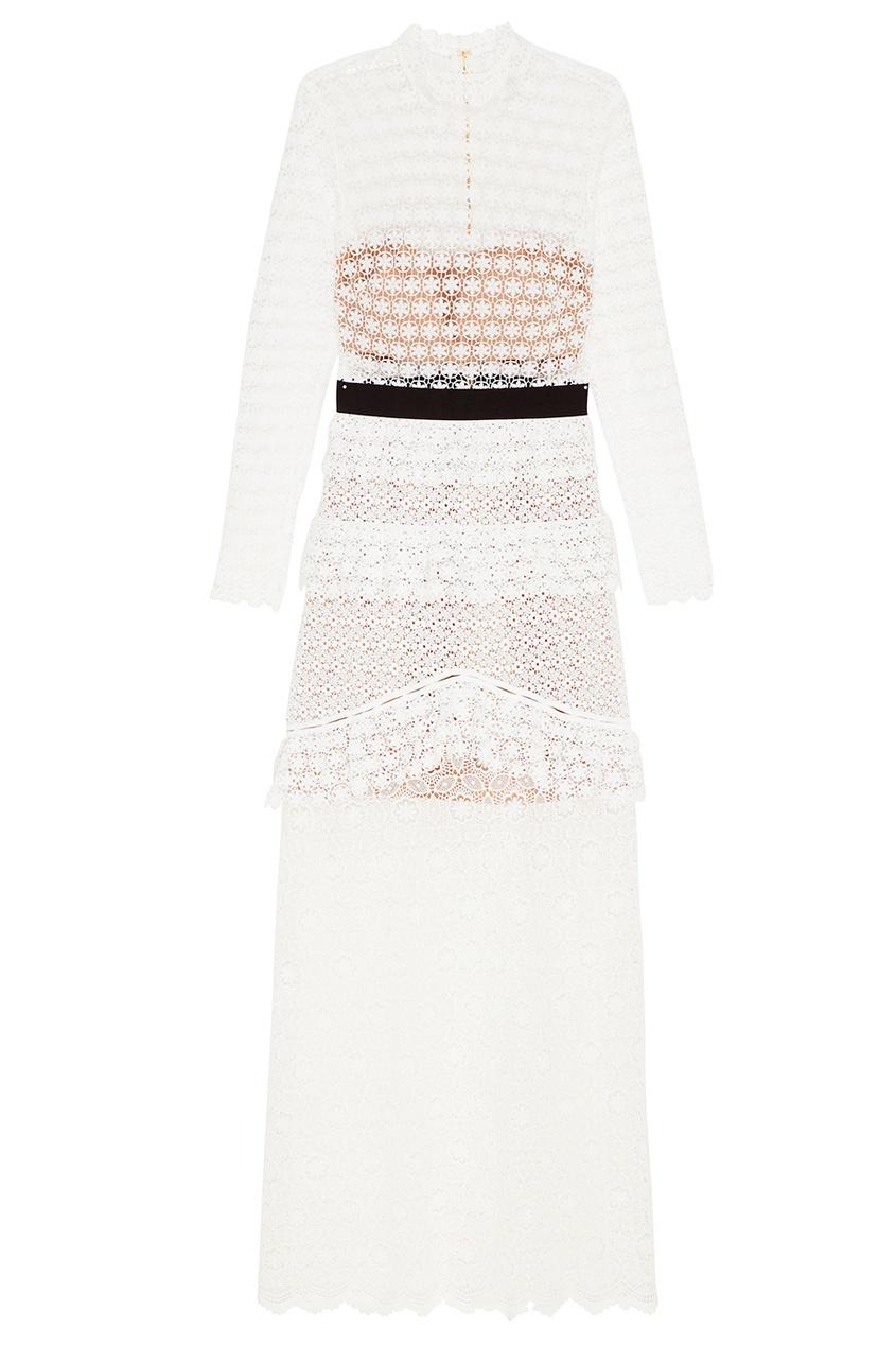 Self-Portrait Белое платье-макси и комбинированного кружева self portrait белое кружевное платье миди