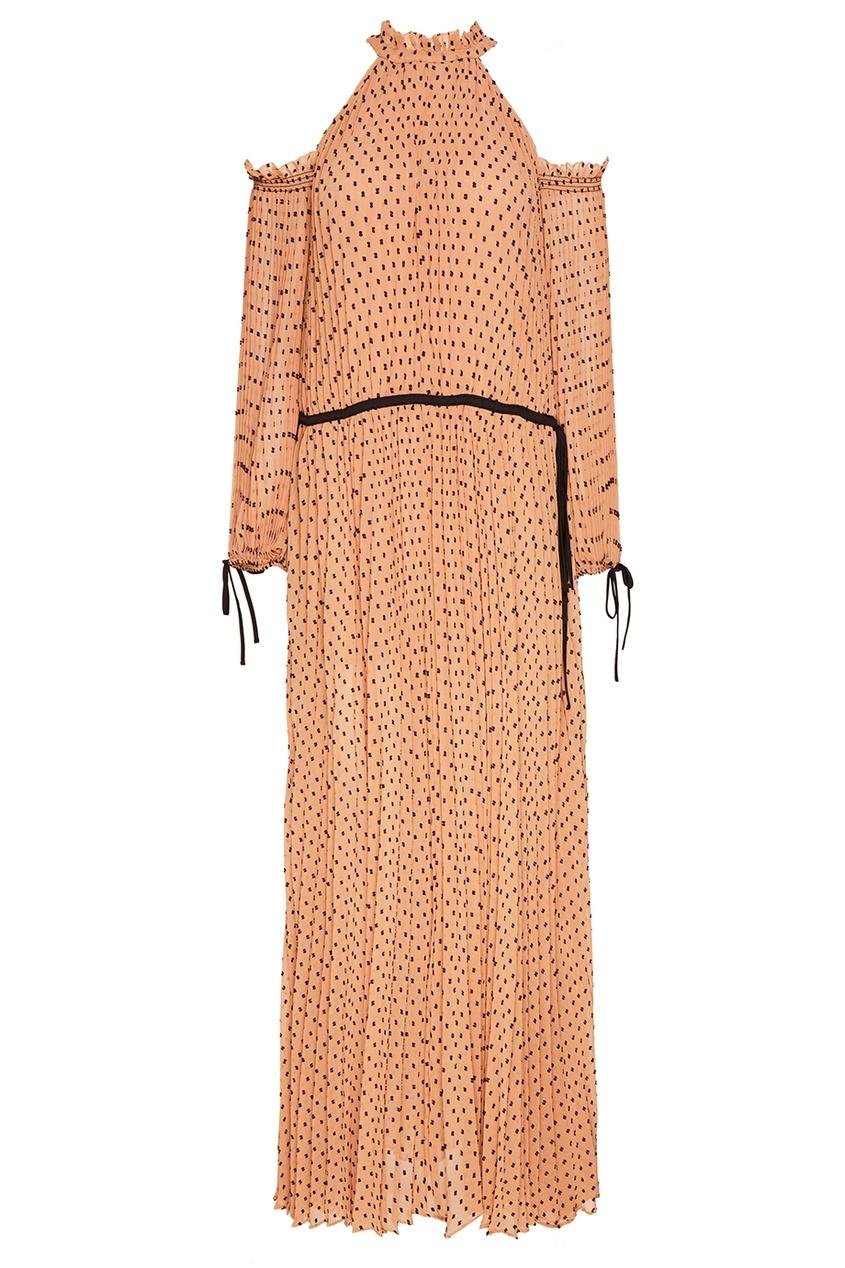 Бежевое плиссированное платье в горох