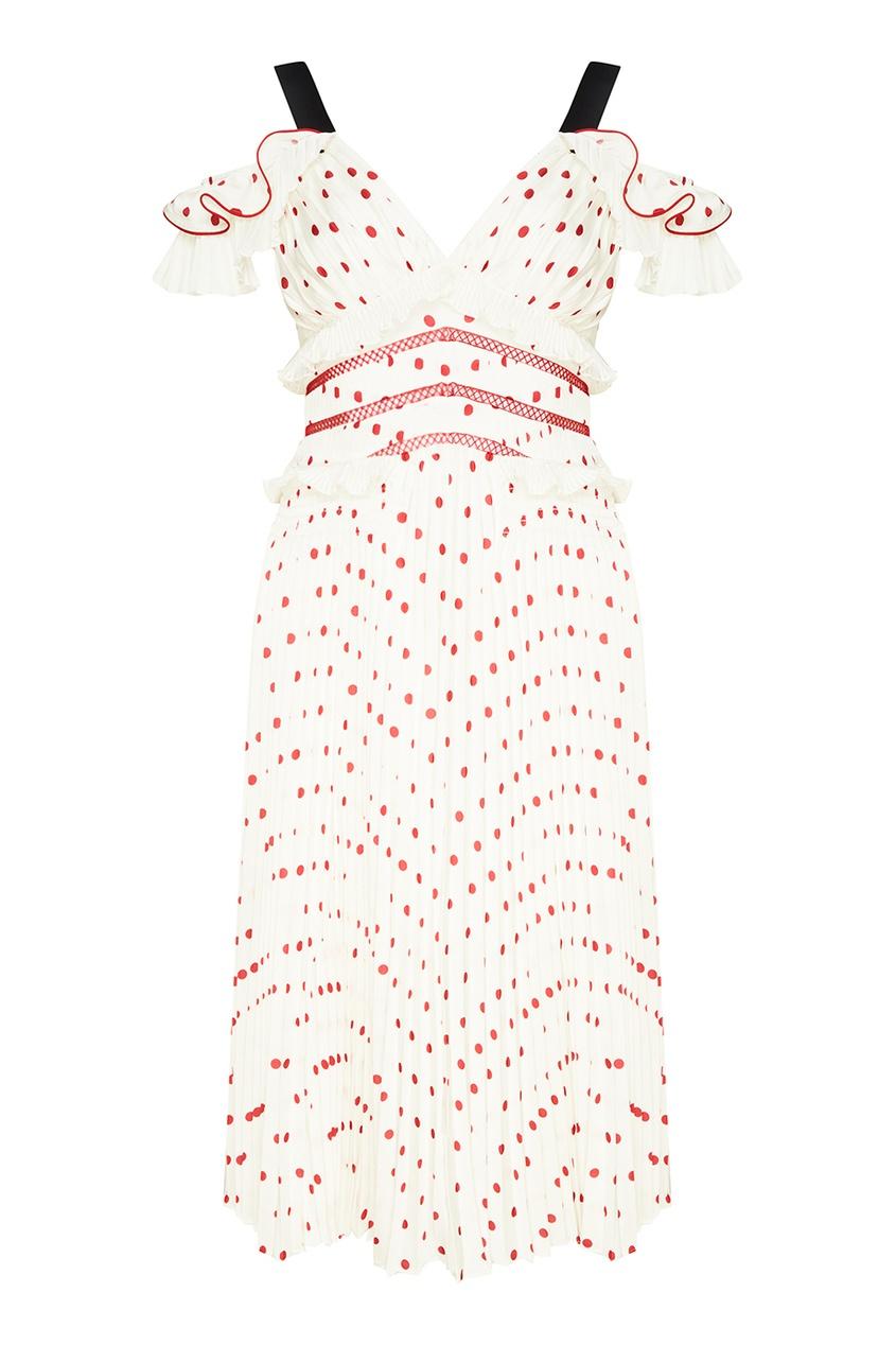 Self-Portrait Белое плиссированное платье в горох self portrait белое кружевное платье миди